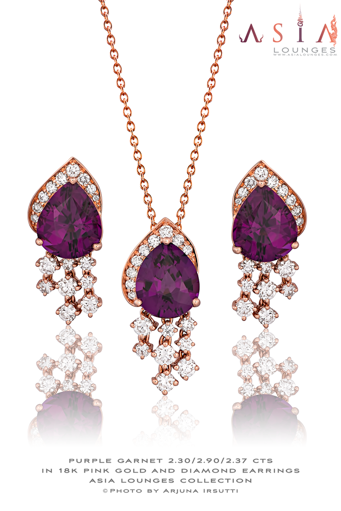 "Lovely Jewelry Set of Purple ""Grape"" Garnet from Mozambique in 18k Pink Gold and Diamonds - Asia Lounges"