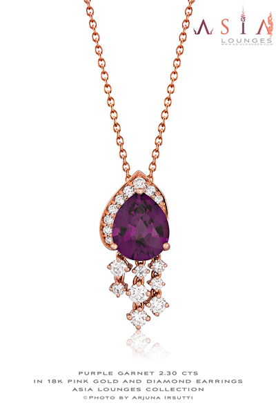 "Lovely Jewelry Set of Purple ""Grape"" Garnet from Mozambique in 18k Pink Gold and Diamonds"