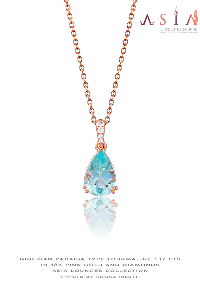 Cute 1.17 cts Paraiba Tourmaline In 18k Pink Gold and Diamonds - Asia Lounges