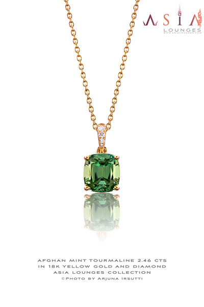 Afghan Mint Green Tourmaline 2.46 cts in 18k Yellow Gold and Diamond Pendant