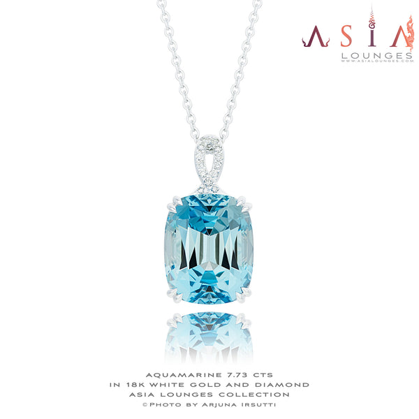 Stunning Vivid Blue 7.73 cts Aquamarine in 18k White Gold and Diamonds Pendant - Asia Lounges