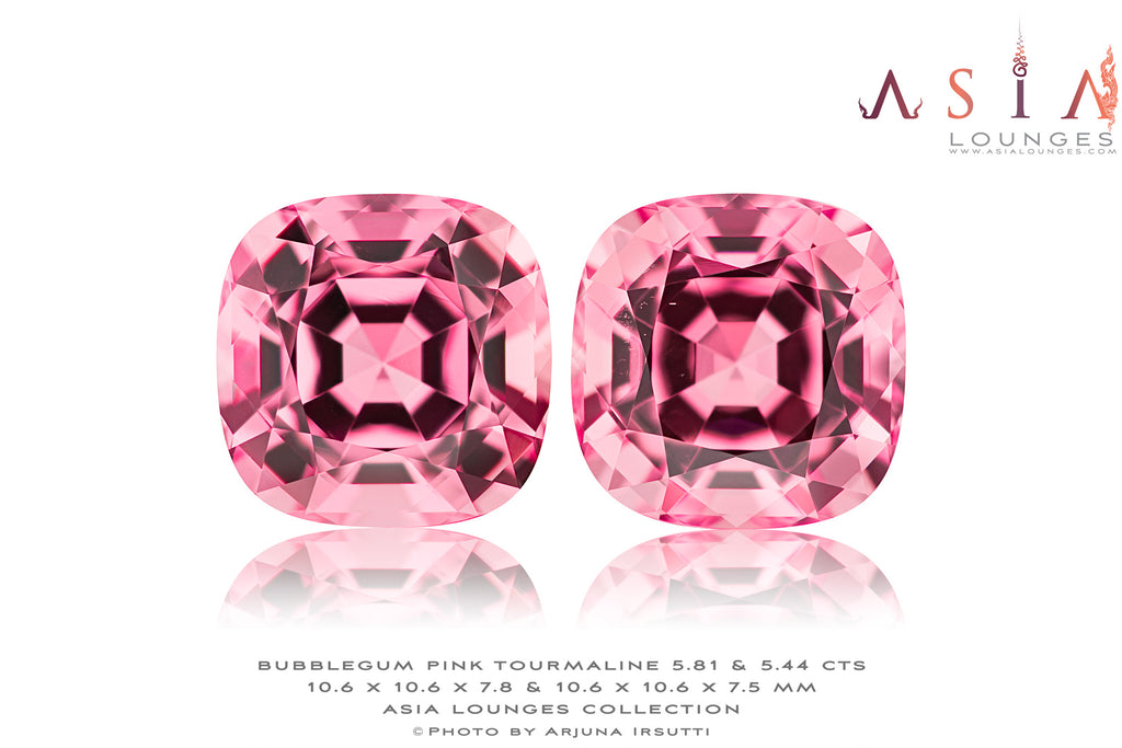Delicious 11.26 cts Pair of Bubble Gum Pink Tourmalines - Asia Lounges