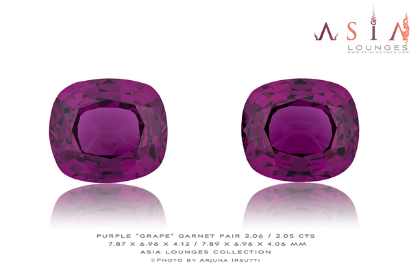 "Mozambique, Purple ""Grape"" Garnet Pair 2.06 / 2.05 cts - Asia Lounges"