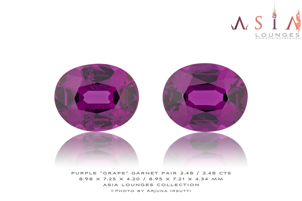 "Mozambique Purple ""Grape"" Garnet Pair 2.48 / 2.48 cts - Asia Lounges"