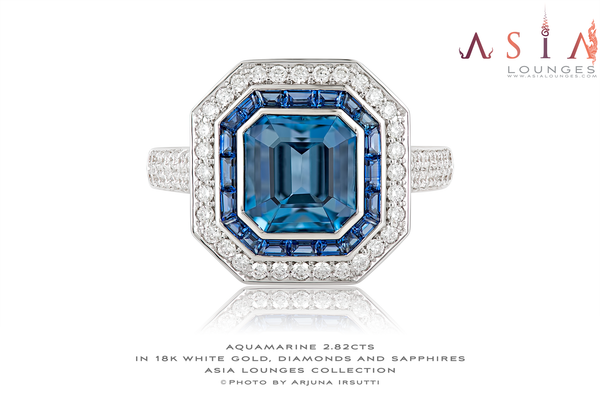 Superb ArtDeco Aquamarine and Sapphire Set in 18k White Gold and Diamonds - Asia Lounges