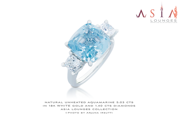 Stunning Aquamarine 5.03 cts and Diamonds 1.40 cts in 18k White Gold Engagement Ring - Asia Lounges