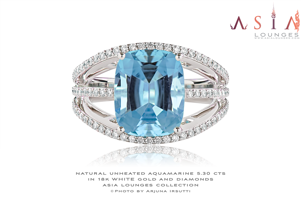 Natural Unheated Madagascar 5.30 cts Aquamarine and Diamonds in 18k White Gold Ring - Asia Lounges