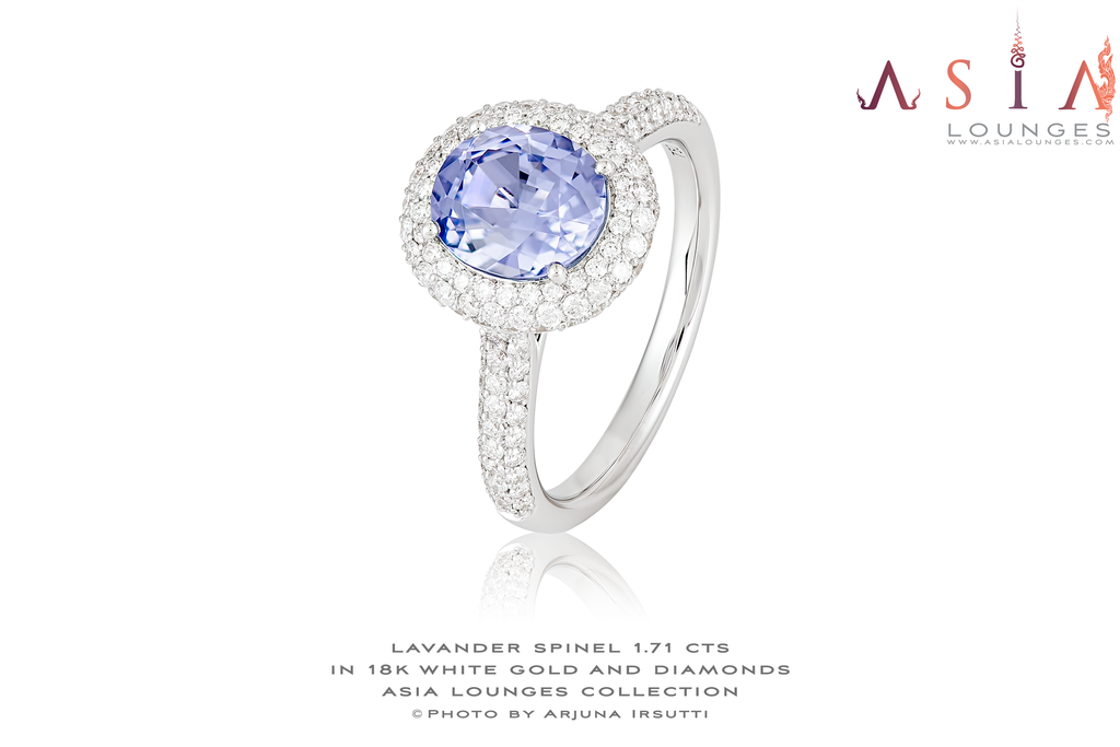 Lovely Vietnamese Lavender Spinel in 18k White Gold and Diamond Ring - Asia Lounges
