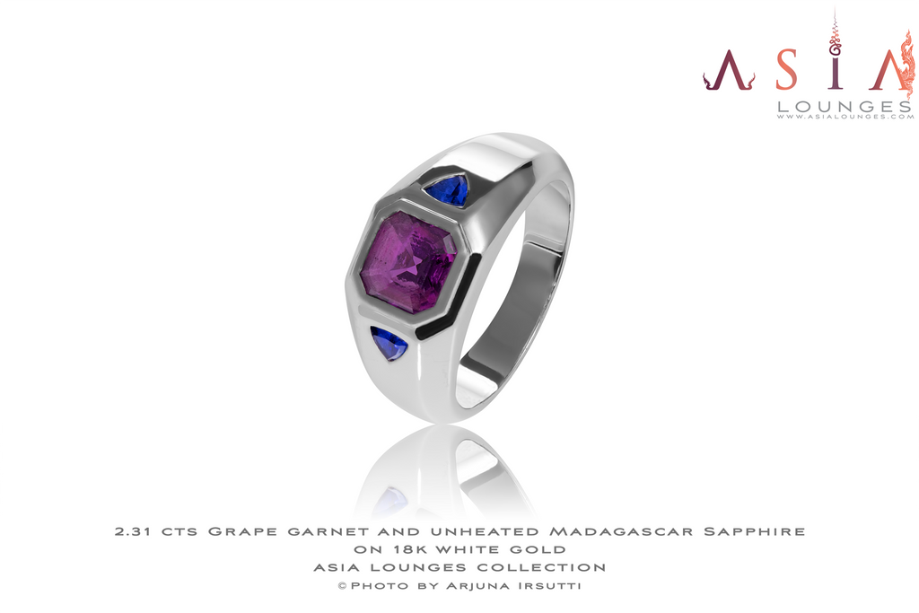 2.31 cts Grape Garnet & unheated Madagascar Sapphires on 18 k White gold ring - Asia Lounges