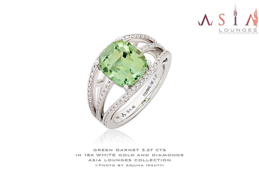 Lovely Lime Green 5.27cts Congo Tourmaline in 18k White Gold and Diamonds Ring - Asia Lounges