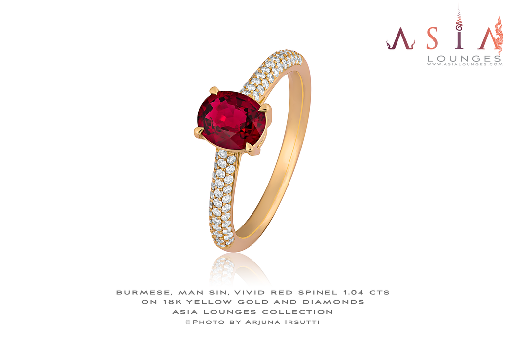 Vivid Red Burmese, Man Sin, Spinel Ring on 18k Yellow Gold and Diamonds - Asia Lounges