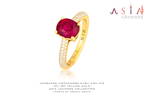 Vivid Red Unheated Vietnamese Ruby in 18k Yellow Gold and Diamond ring - Asia Lounges