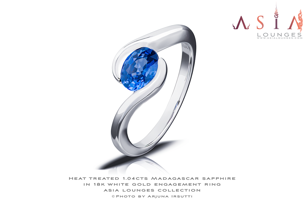Heat Treated 1.04 cts Madagascar Sapphire in 18k White Gold Engagement Ring - Asia Lounges