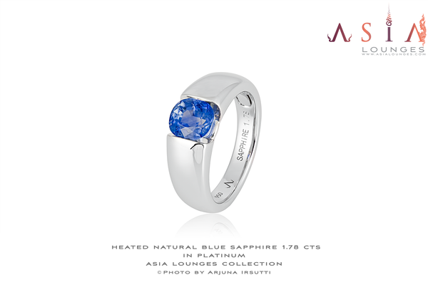 "Our Sweet ""Vasilok"" Platinum Ring with 1.78 cts Natural Heat Treated Sri Lanka Sapphire - Asia Lounges"
