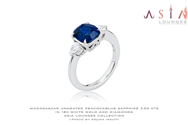 Stunning 3 cts Unheated, Untreated Peacock Blue Sapphire in 18k White Gold and Diamond Ring - Asia Lounges