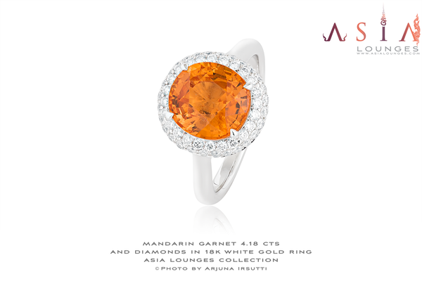 Lovely Nigerian Mandarin Garnet in 18k White Gold and Diamonds Ring - Asia Lounges