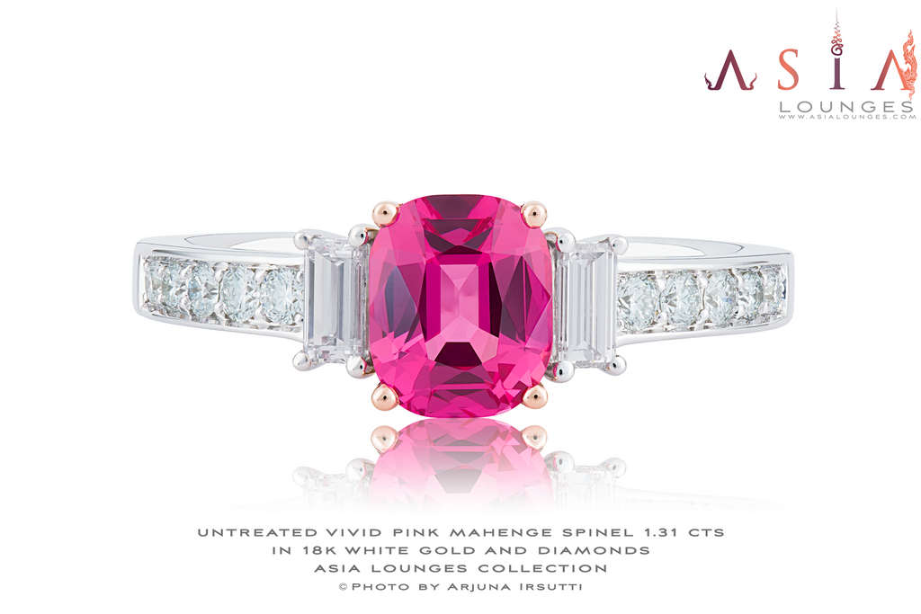 Stunning 1.31 cts Vivid Pink Mahenge Spinel in 18k White Gold and Diamonds Ring - Asia Lounges