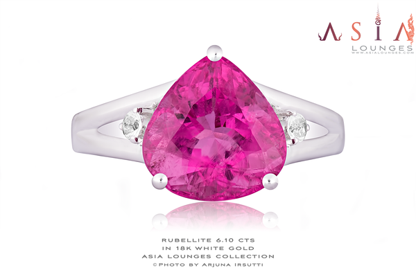 Stunning Rubelite Tourmaline 6.1 cts in 18k White Gold Ring - Asia Lounges