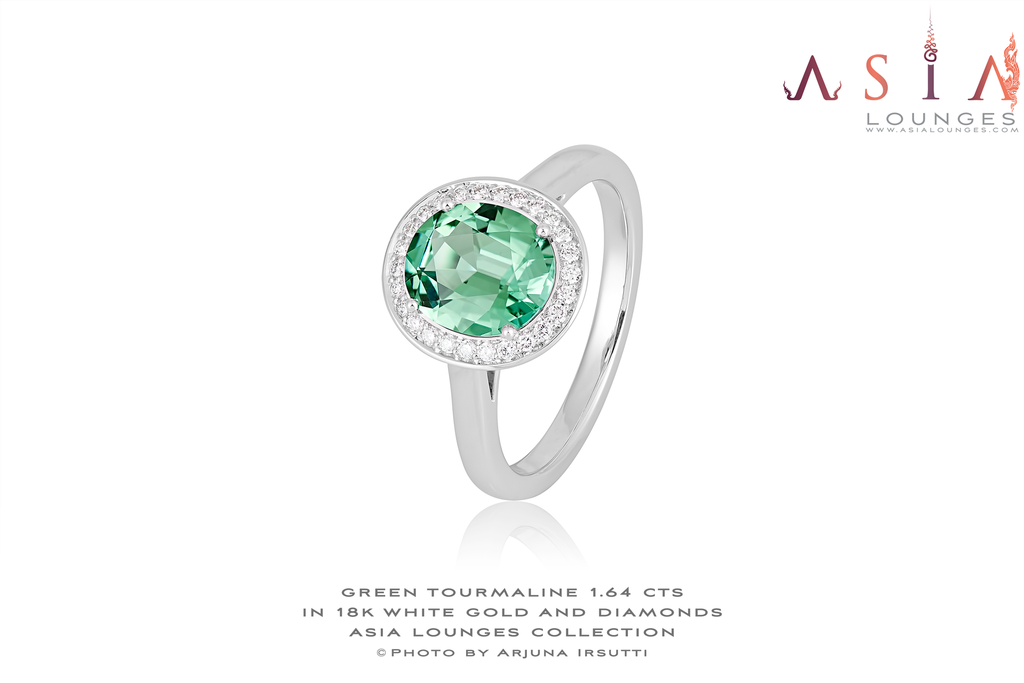 Lovely 1.64 cts Congo Green Tourmaline in 18k White Gold and Diamonds Ring - Asia Lounges