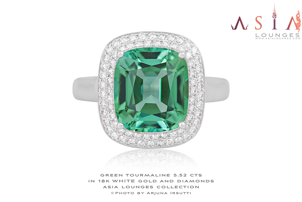 "The ""Green Princess"" Congo Tourmaline in 18k White Gold and Diamonds Ring - Asia Lounges"