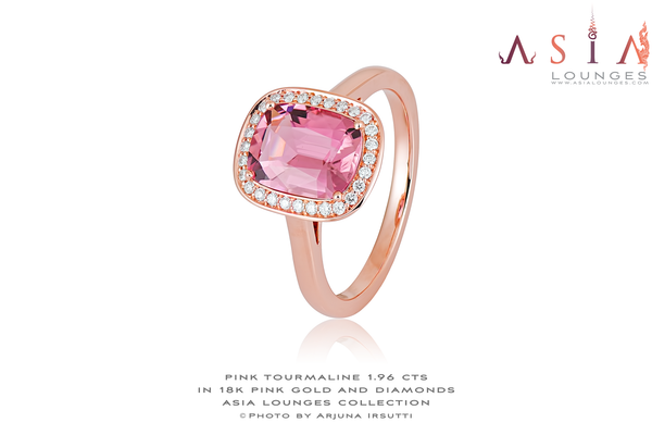 Lovely 1.96 cts Salmon Pink Congo Tourmaline in 18k Pink Gold and Diamonds Ring size #54 - Asia Lounges