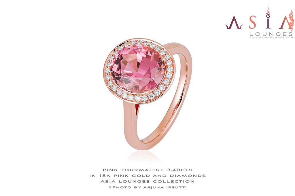 A Stunning 3.40 cts Hot Pink Congo Tourmaline 18k Pink Gold Ring and Diamonds - Asia Lounges
