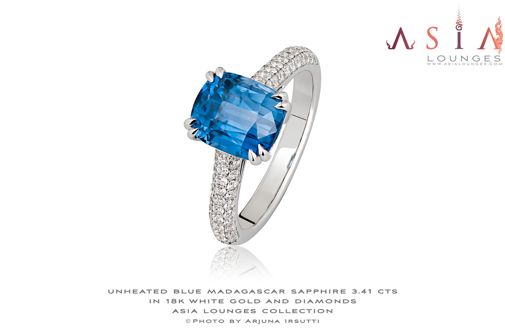 Classical 3.41 cts Madagascar Unheated Pastel Blue Sapphire in 18k White Gold and Diamonds Ring - Asia Lounges