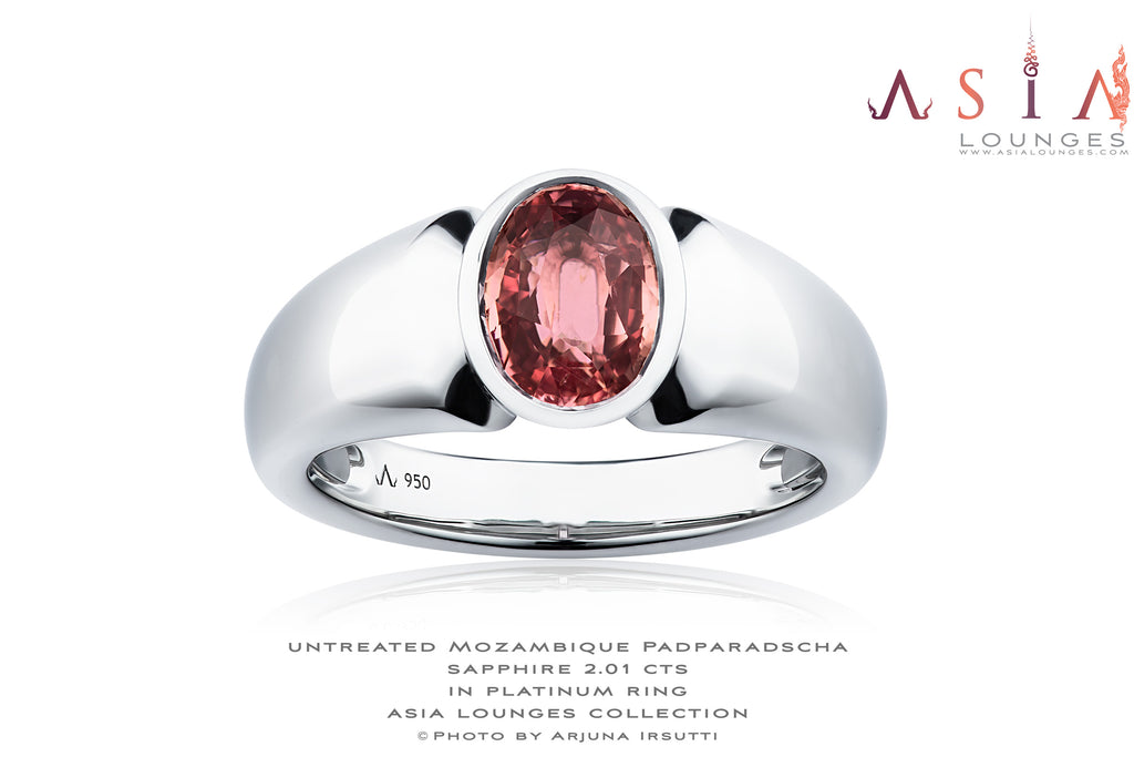 Mozambican Untreated 2.01 cts Padparadscha Sapphire in Platinum ring for him - Asia Lounges