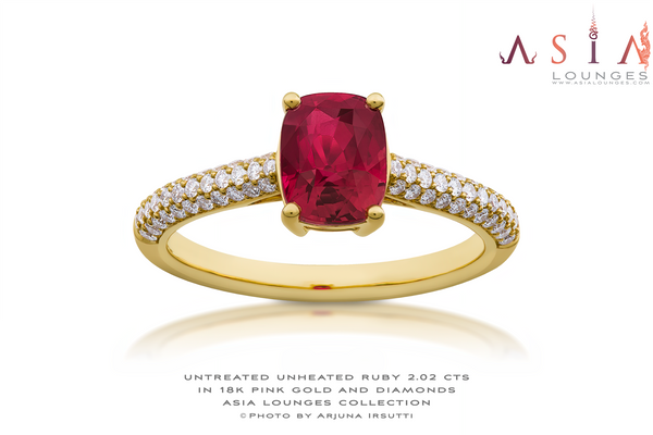 AsiaLounges Classic 2.02 cts Ruby in 18k Yellow Gold and Diamonds