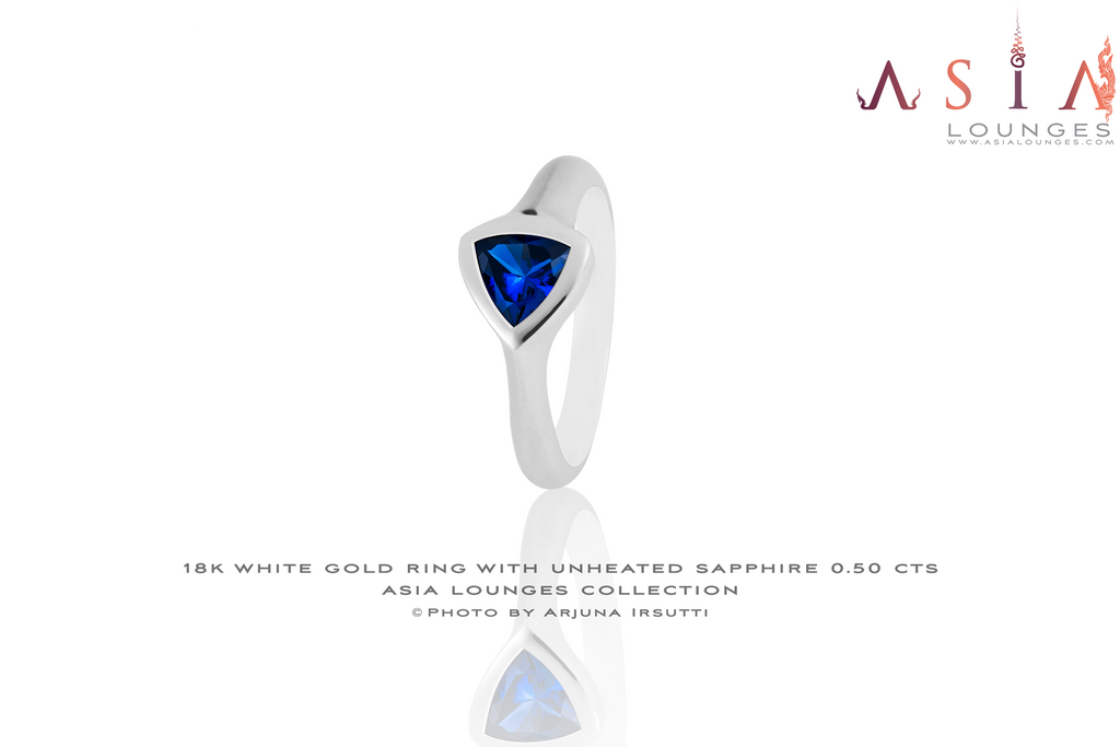 18K White Gold Ring with unheated Madagascar Sapphire - Asia Lounges