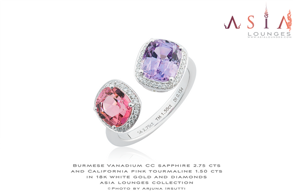 Twin Headed 18k White gold ring featuring Burmese CC Vanadium Sapphire and Californian Pink Tourmaline - Asia Lounges