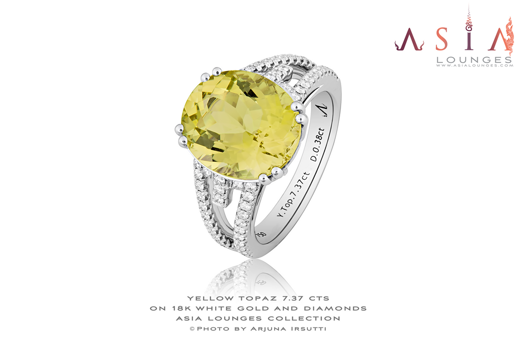 Natural Flawless Yellow Topaz in 18k White Gold and Diamonds - Asia Lounges