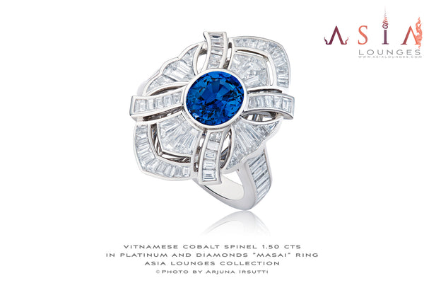 "Stunning and wild 1.50 cts Vietnamese Cobalt Spinel in ""Masai"" platinum and diamonds ring - Asia Lounges"