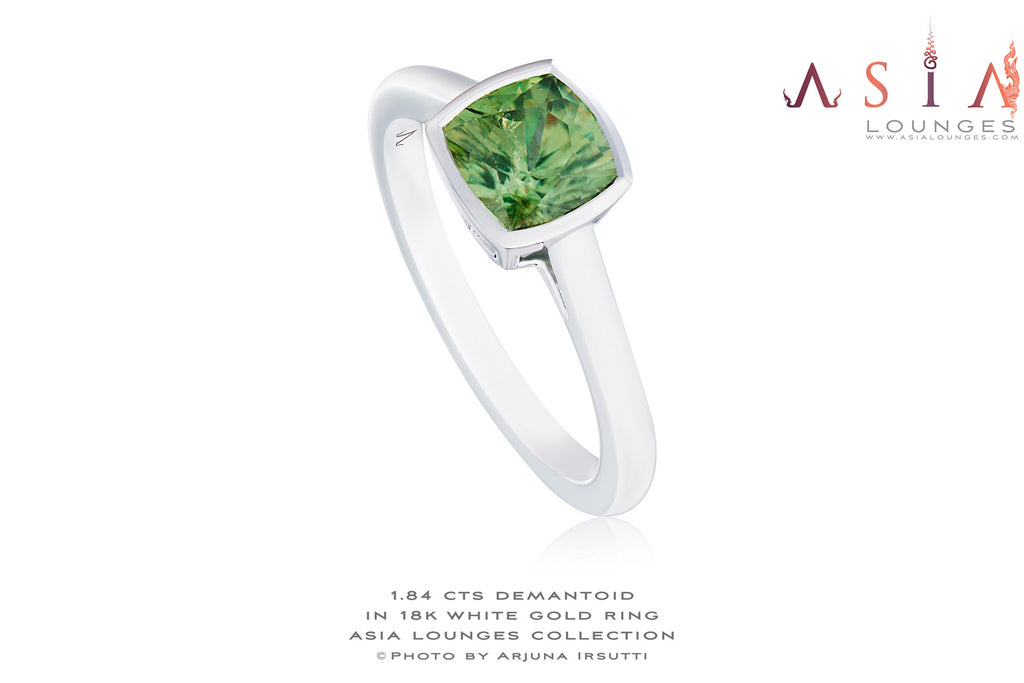 Simple and Elegant 1.84 cts Demantoid Garnet in 18k White Gold Ring - Asia Lounges
