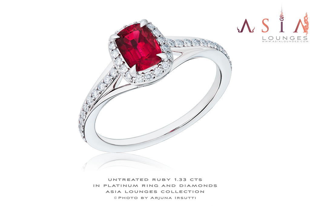 Delicious 1.33 Mozambique Ruby in Platinum and Diamonds - Asia Lounges