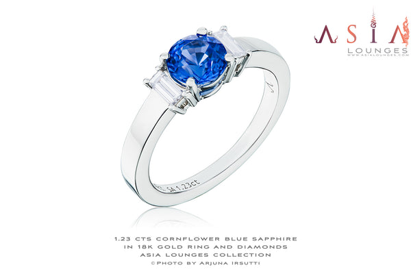 1.23 cts Heat Treated Sapphire in 18k White Gold and diamonds #50 - Asia Lounges