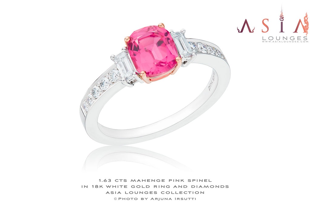 Delicious Untreated Hot Pink 1.63 cts  Mahenge Spinel in 18k White Gold and Diamonds - Asia Lounges