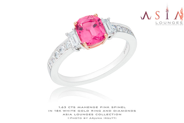 Delicious 1.63 cts Hot Pink Spinel in 18k White Gold and Diamonds Ring - Asia Lounges