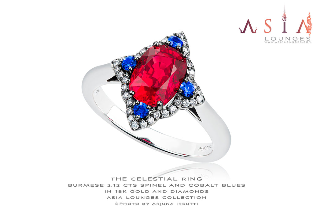 "The Celestial Ring: Burmese ""Jedi"" Red Spinel and Vietnamese Cobalt Blues in 18K Gold and Diamonds - Asia Lounges"