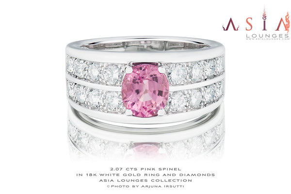 Men's Pink 2.07 cts Spinel in 18k White Gold and Diamond Ring - Asia Lounges