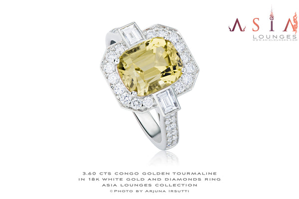 Delicious 3.60 cts Yellow Congo Tourmaline in elegant 18k white gold and diamonds Art Deco Ring - Asia Lounges