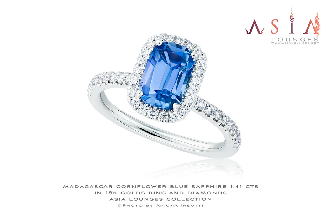 "Unheated Untreated 1.41 cts Cornflower Blue Sapphire in 18k Gold and Diamond ""Lovers' Promise"" Ring - Asia Lounges"