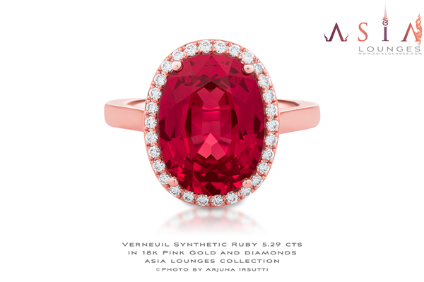 Verneuil Synthetic Ruby 5.29 cts in 18k Pink Gold and Diamonds Engagement Ring - Asia Lounges