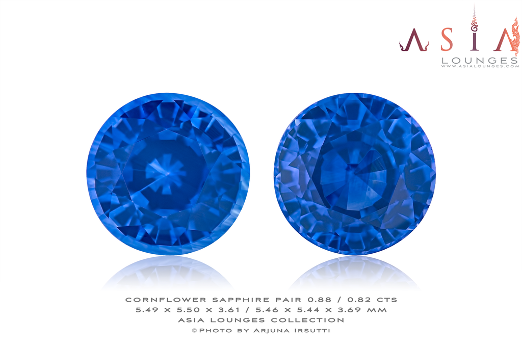Pair of Heated Cornflower Blue Sapphires 0.88 / 0.82 cts - Asia Lounges