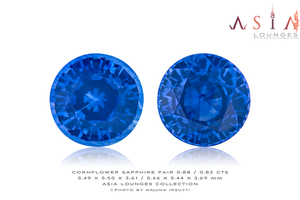 Pair of Heated Cornflower Blue Sapphires 0.88 / 0.82 cts