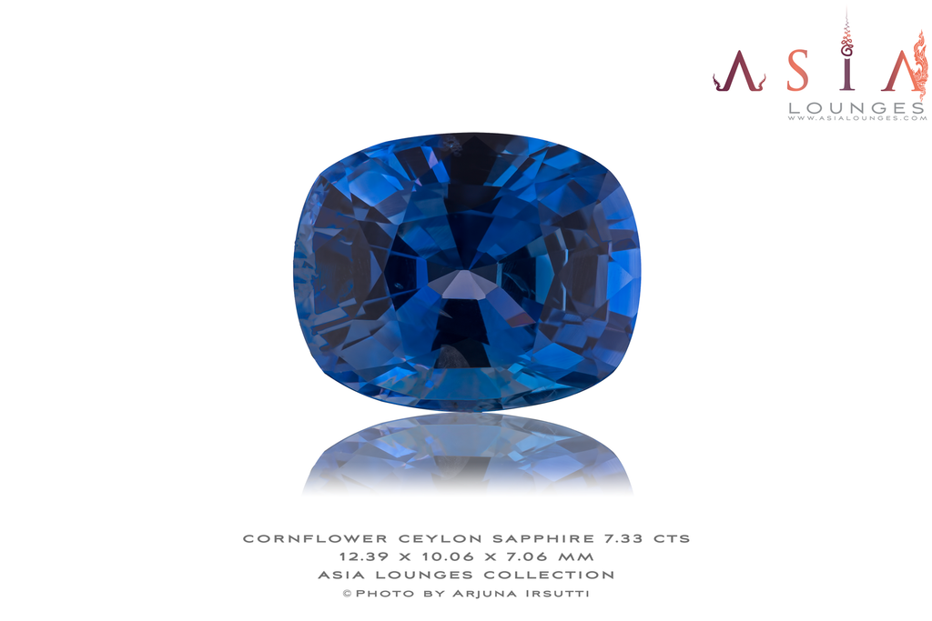 Heated Cornflower Blue Ceylon Sapphire 7.33 cts - Asia Lounges