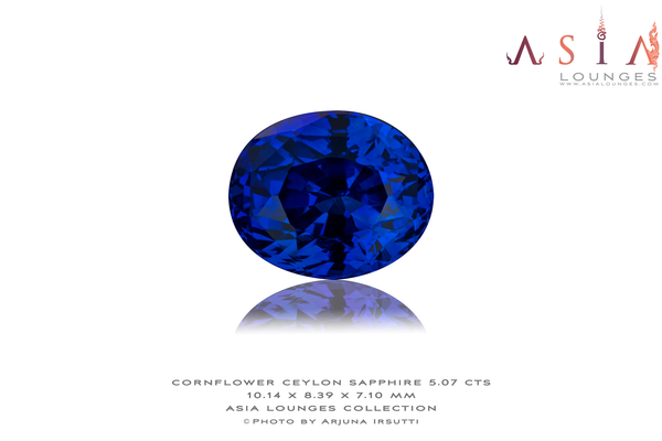 Heated Cornflower Blue Ceylon Sapphire 5.07 cts - Asia Lounges