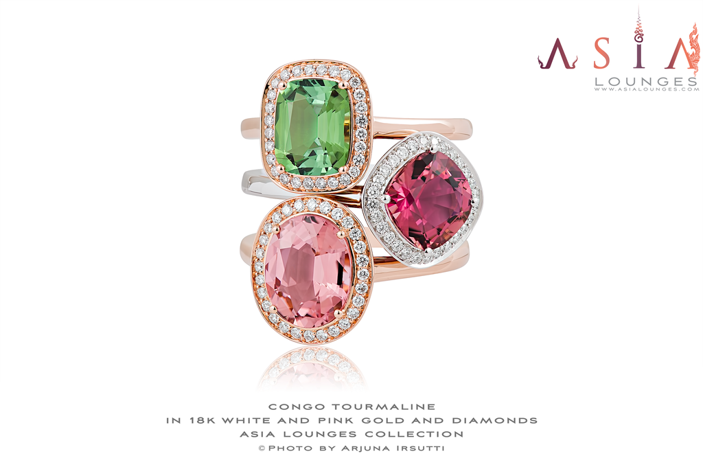 Superb Triptique of Stacking Tourmalines 18k White and Pink Gold and Diamond Rings - Asia Lounges