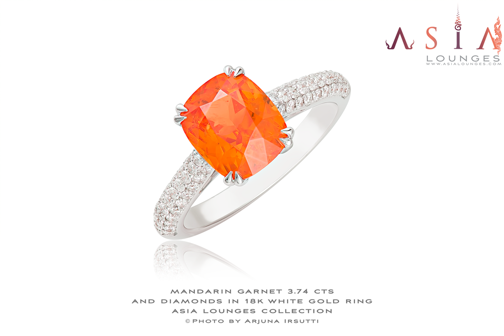 Stunning Tanzanian Mandarin Garnet Set in 18k White Gold and Diamonds Ring - Asia Lounges