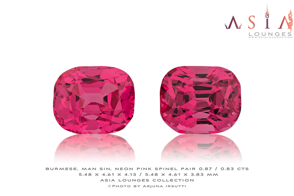 Burmese, Man Sin Neon Pink Spinel Pair 0.87 / 0.83 cts - Asia Lounges